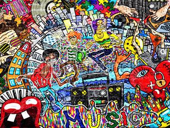 Kinderkamerkleed Graffiti art | Vinyl
